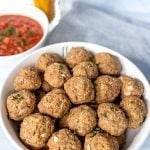bowl of oven-baked meatballs