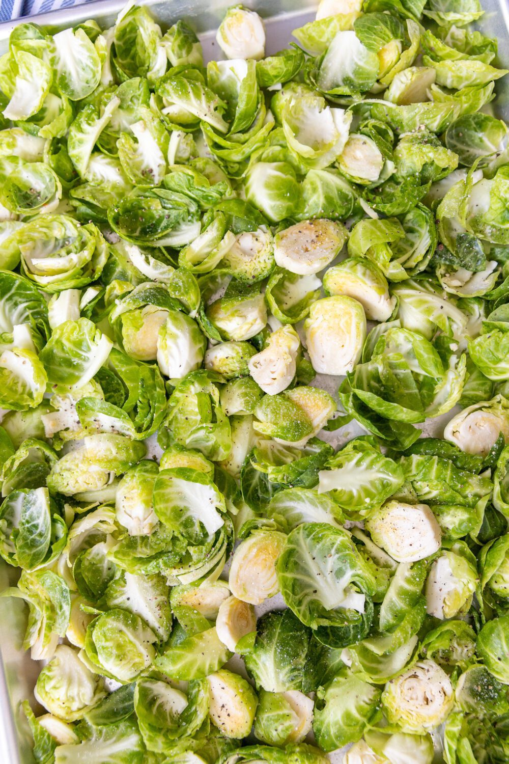 baking sheet full of brussel sprouts