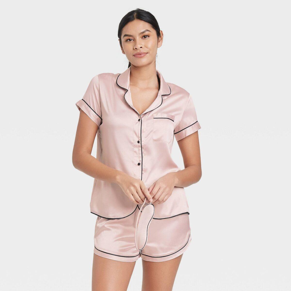 Women's 3pc Satin Notch Collar Top Pajama Set - Stars Above™