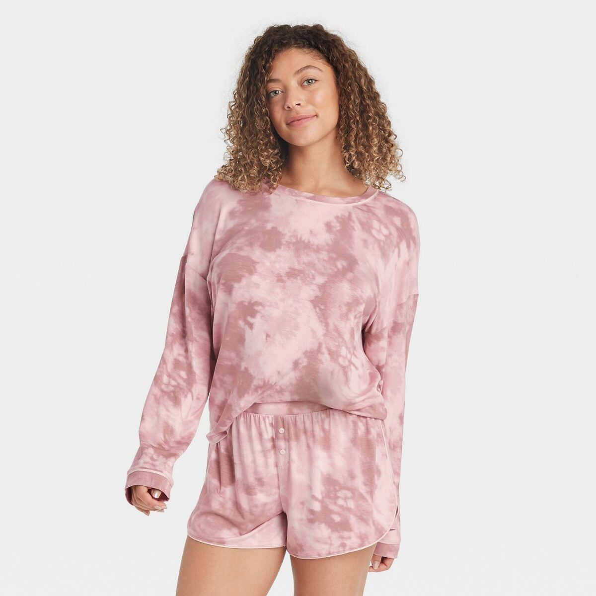 Women's Tie-Dye Beautifully Soft Long Sleeve Top and Shorts Pajama Set - Stars Above™ Pink