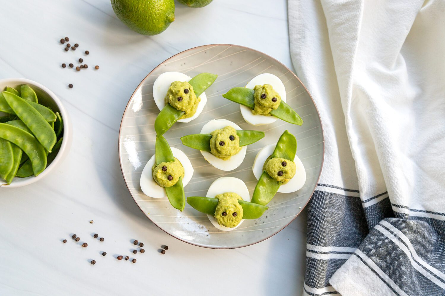 plate of baby yoda deviled eggs