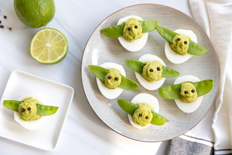 plates of baby yoda deviled eggs