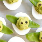 close up of baby yoda deviled eggs