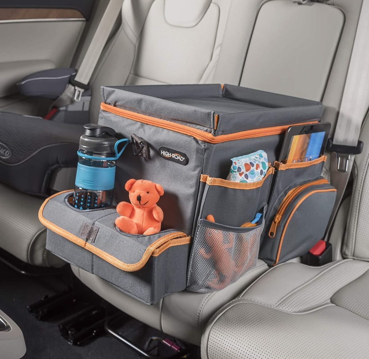 car seat organizer with cooler and tray