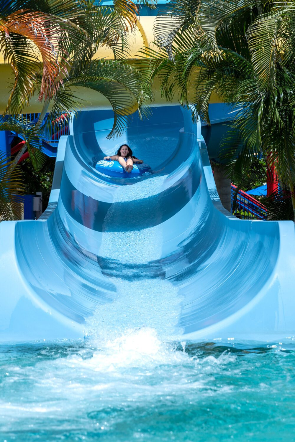 girl going down a slide at LEGOLAND Water Park