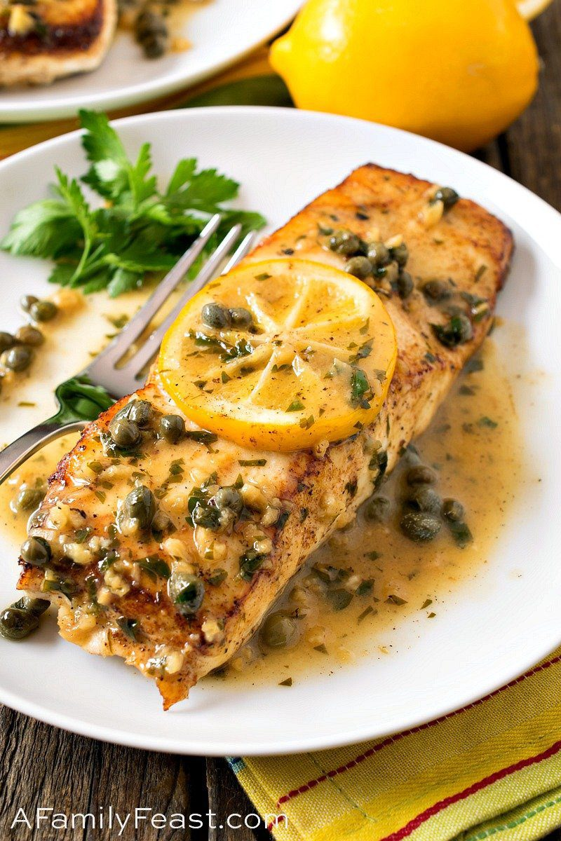 Pan-Seared Halibut with Lemon Caper Sauce by A Family Feast