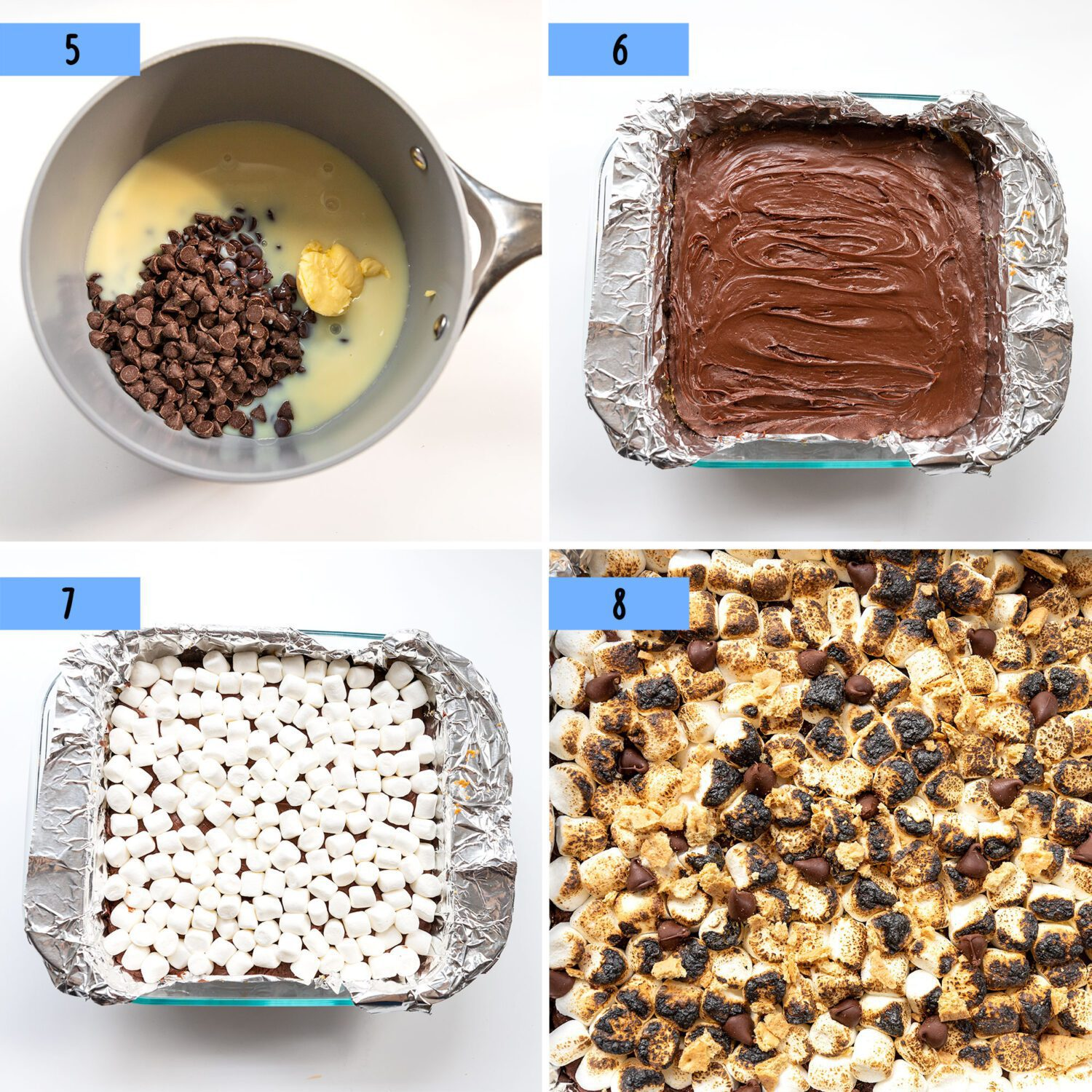 steps to make the fudge for s'mores fudge bars