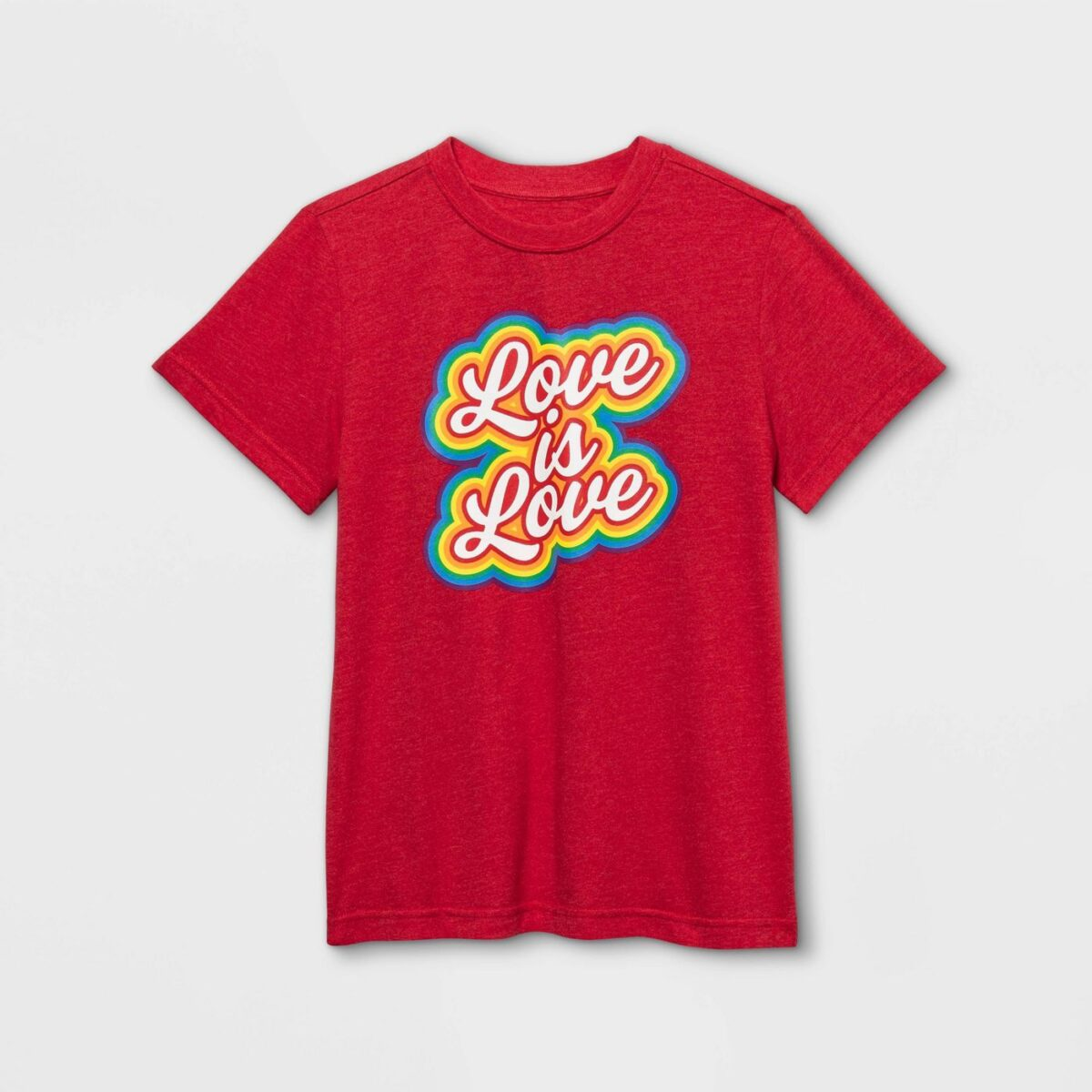 Pride Gender Inclusive Kids' 'Love is Love' Short Sleeve Graphic T-Shirt - Red