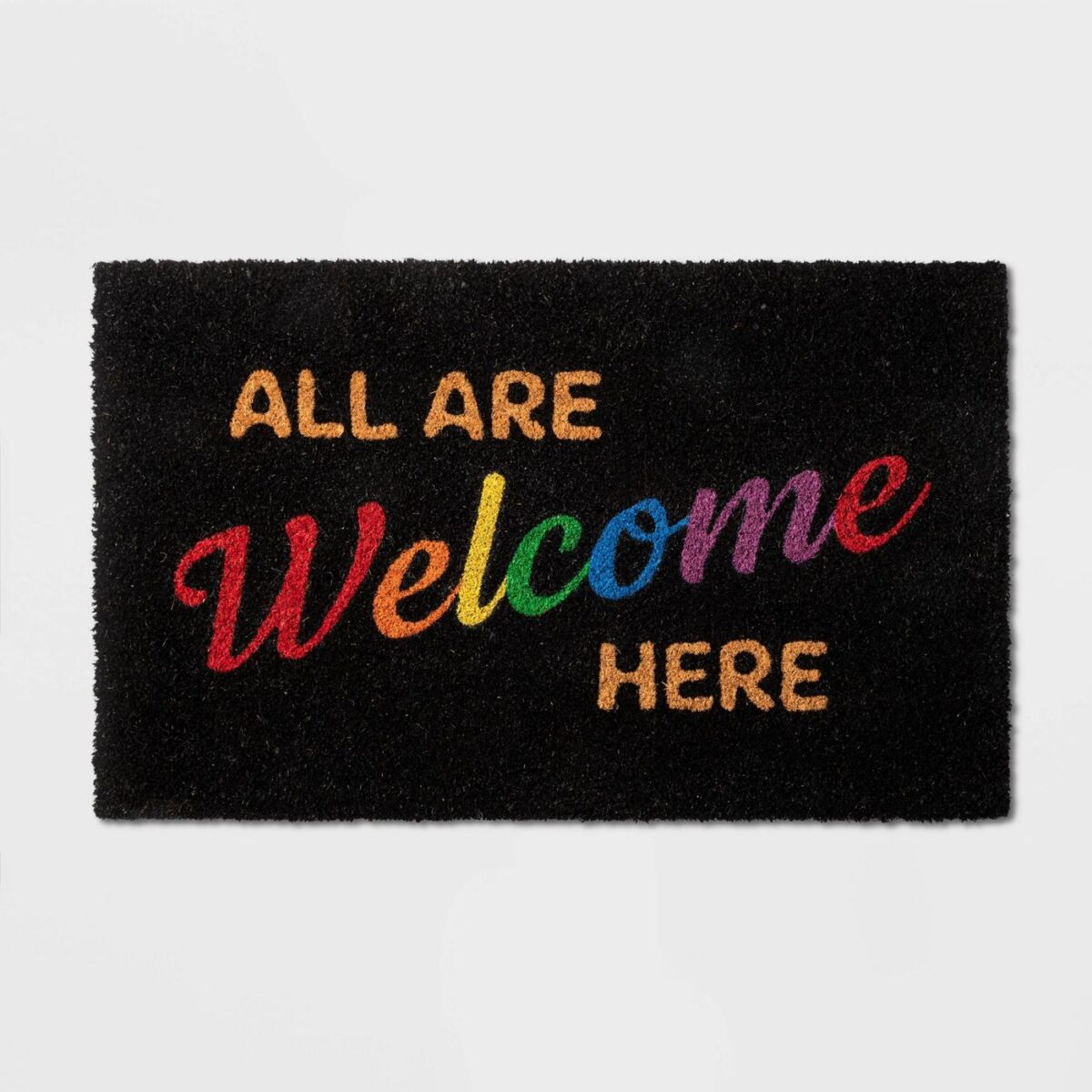 """18""""x30"""" All Are Welcome Here Doormat - Pride"""