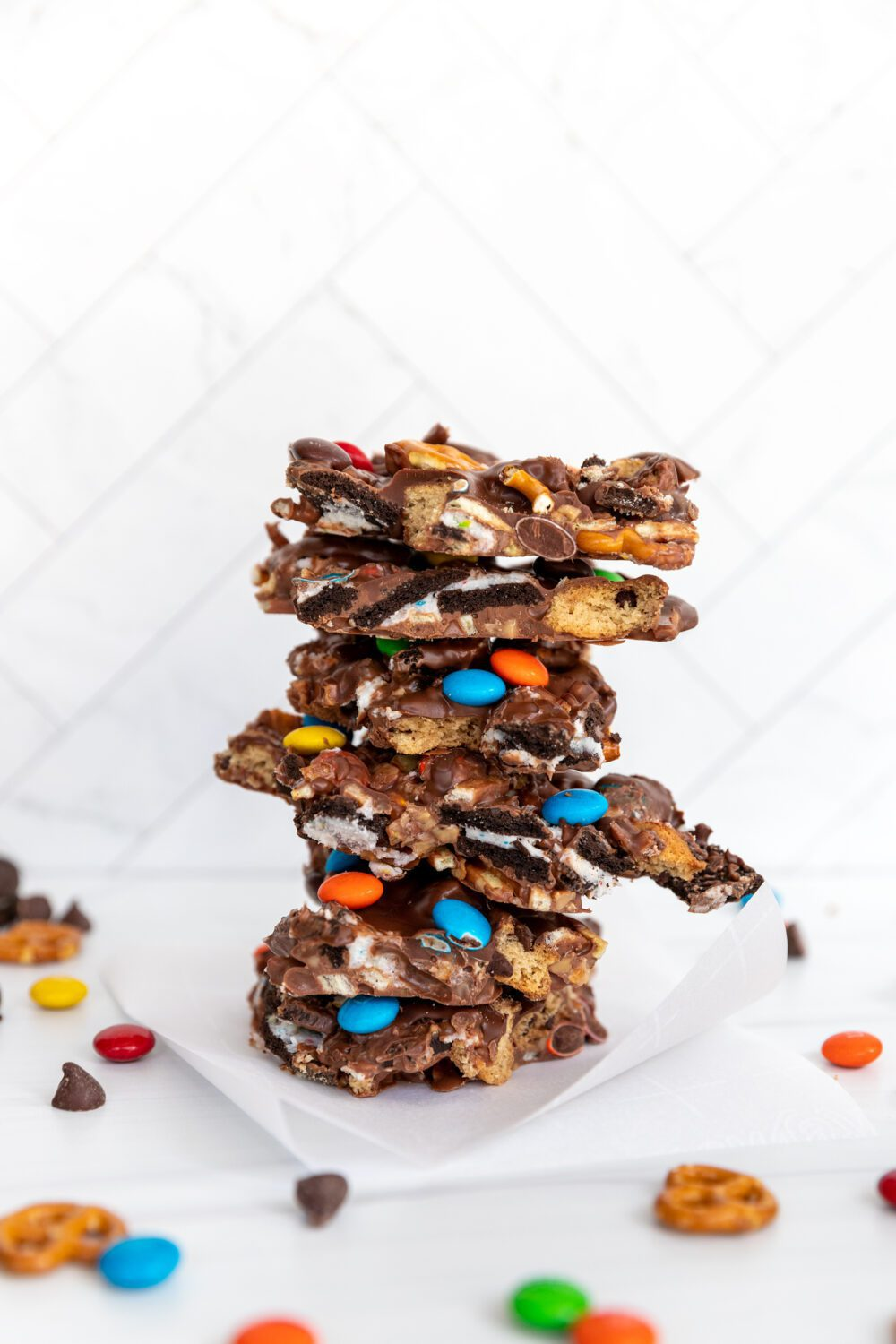 stack of chocolate snack crack