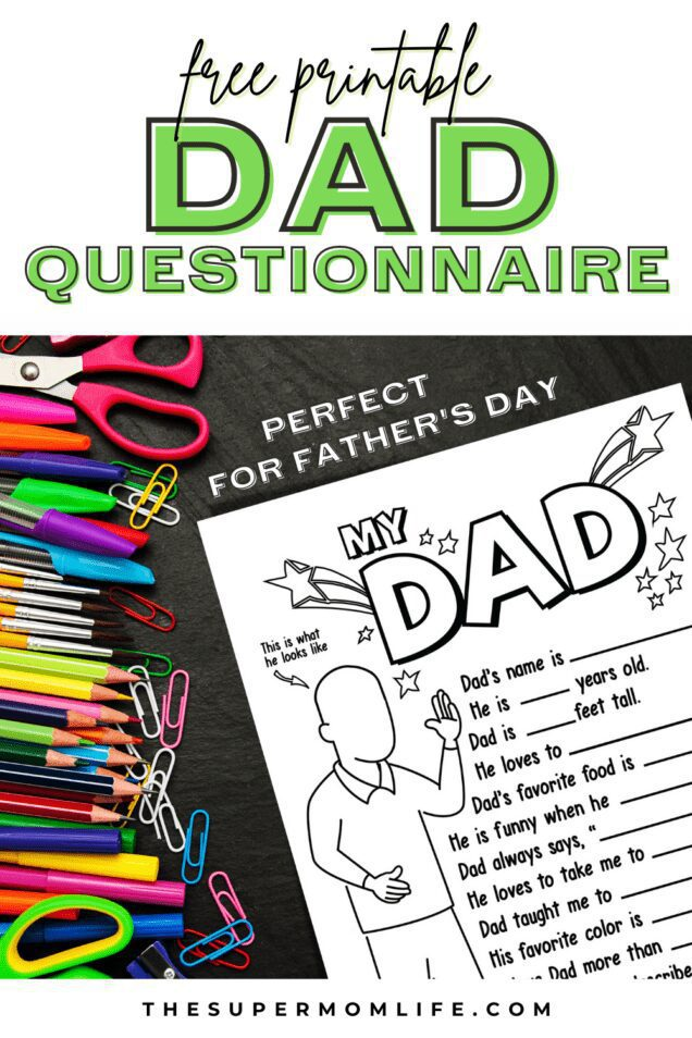 This Dad questionnaire is perfect for the kids to color and fill out for Father's Day. Just download and print. It makes a great gift.
