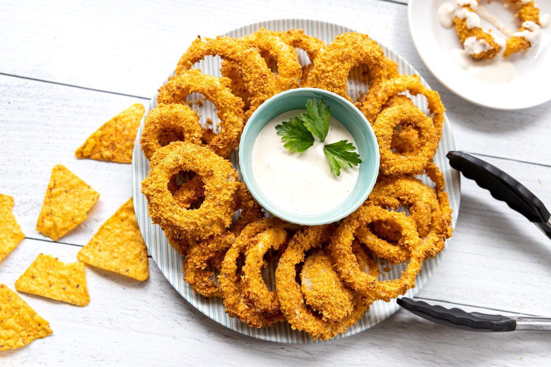 air fryer Doritos onion rings