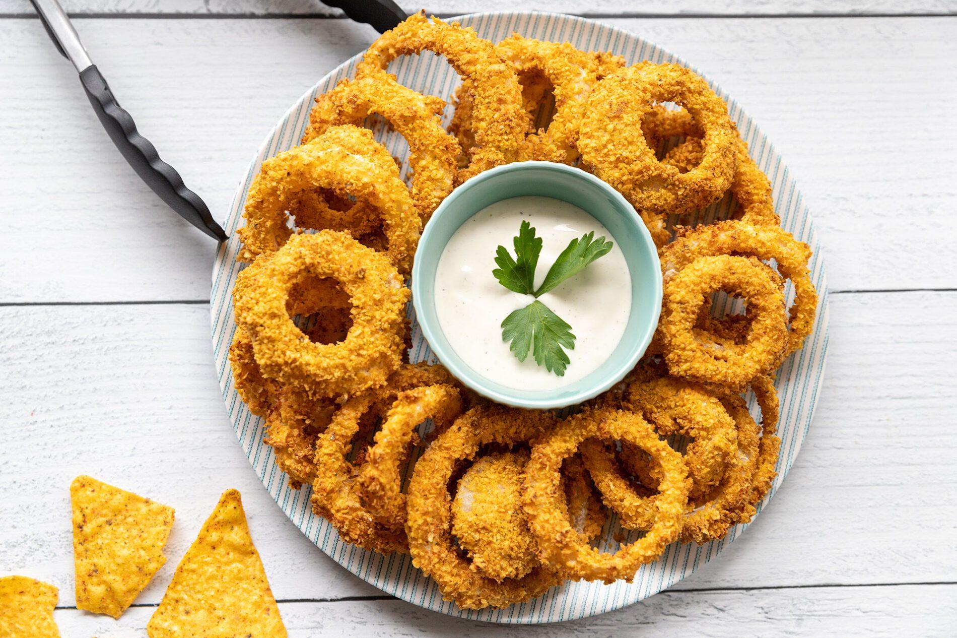 air fryer Doritos onion rings with cool ranch Doritos