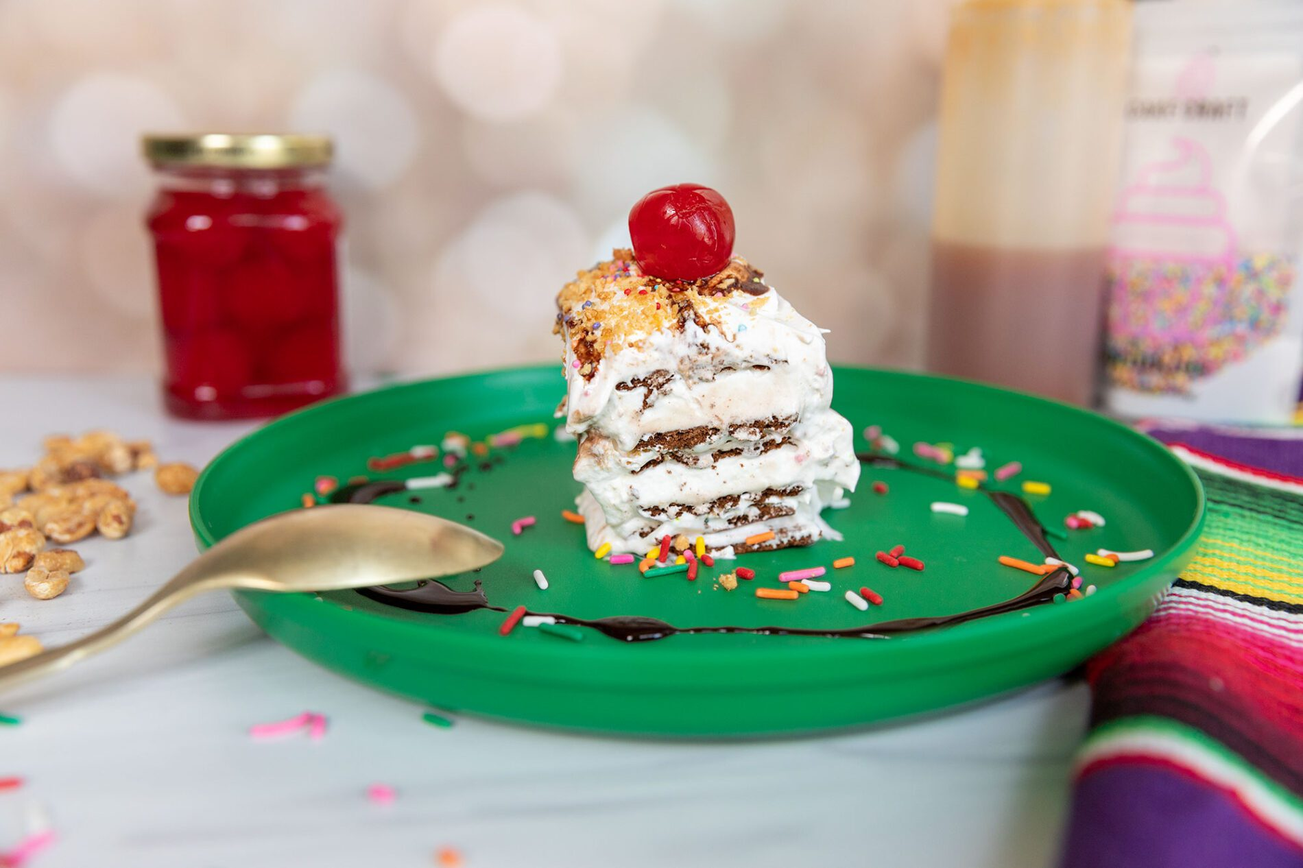 easy ice cream cake on a plate
