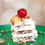 piece of easy ice cream cake with ice cream sandwiches
