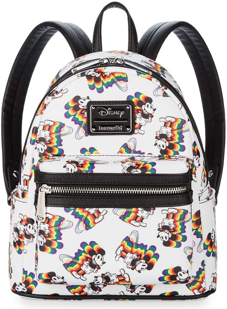 Loungefly Disney Mickey Mouse Rainbow Womens Double Strap Shoulder Bag Purse