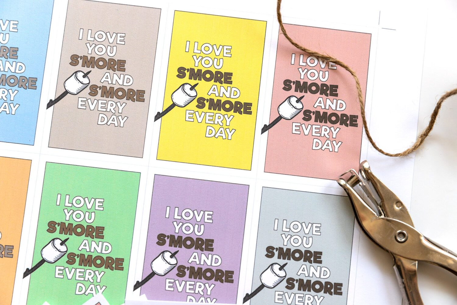paper printable in different colors, all say I love you s'more and s'more every day
