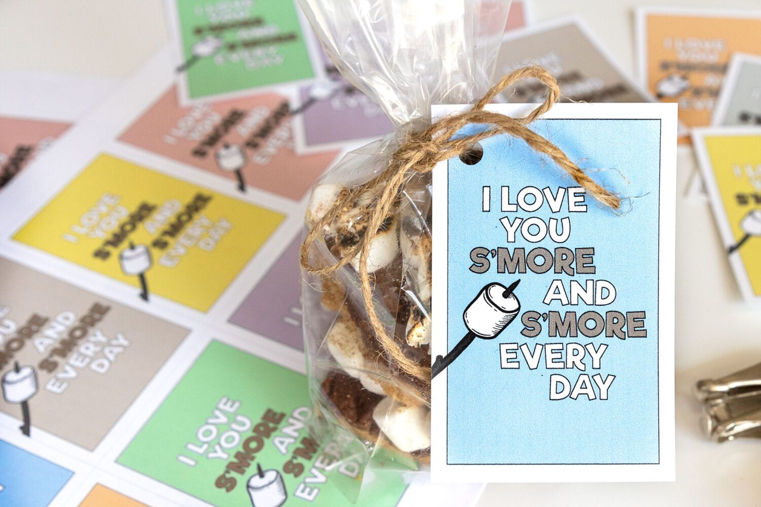 bag of s'mores fudge bars with a note attached