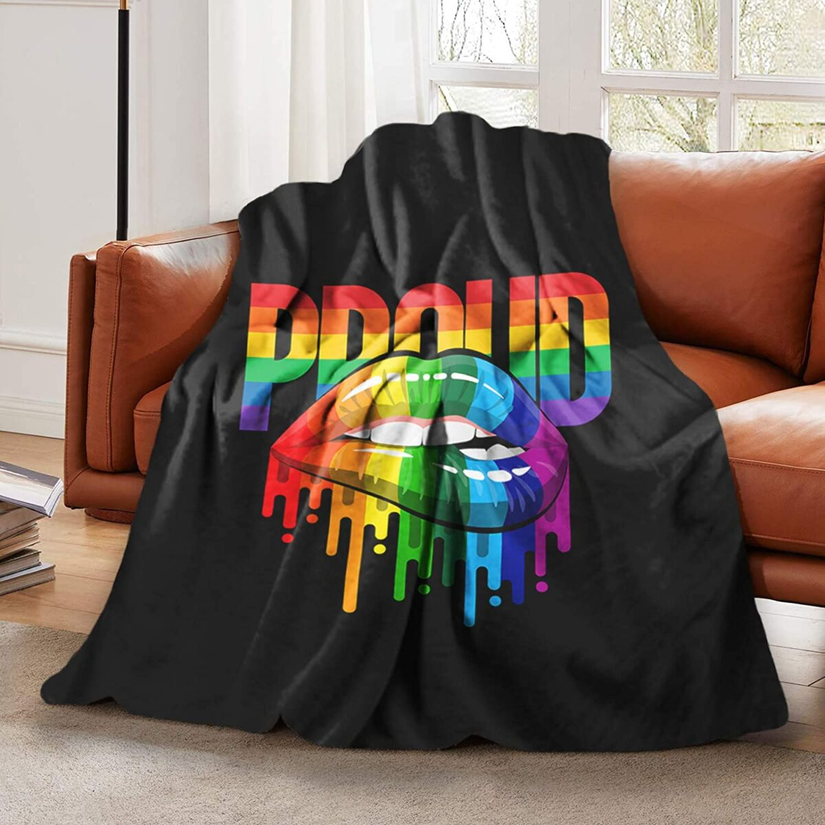 LGBT Pride Biting Lip Throw Blanket