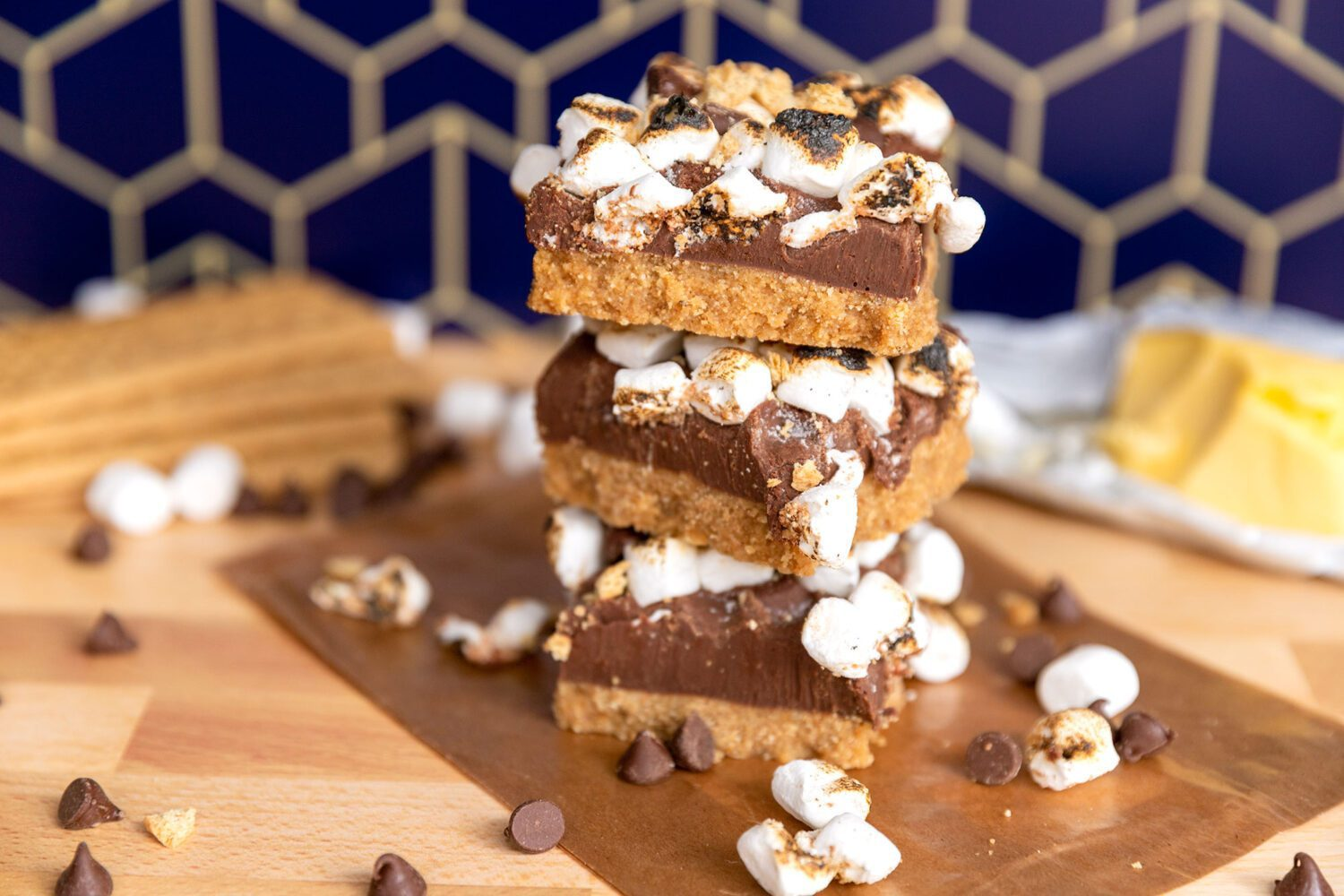 stack of s'mores fudge bars on a counter