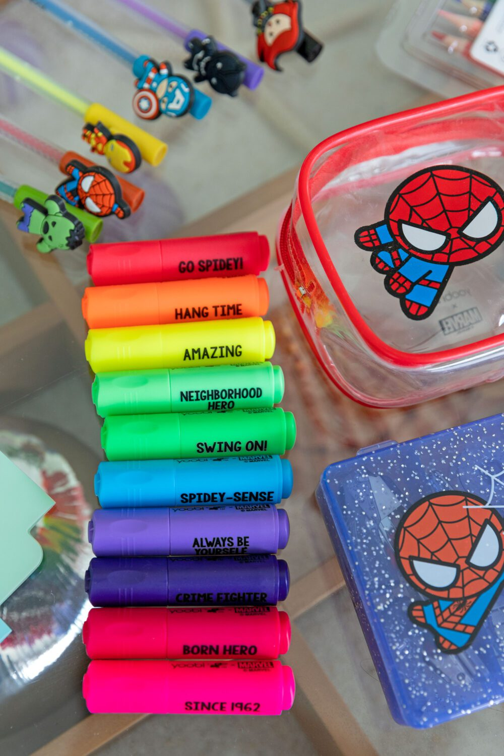 close up of the new yoobi marvel highlighter collection