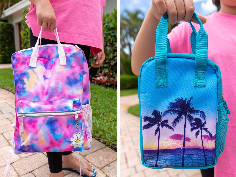 yoobi tie dye backpack and lunch box