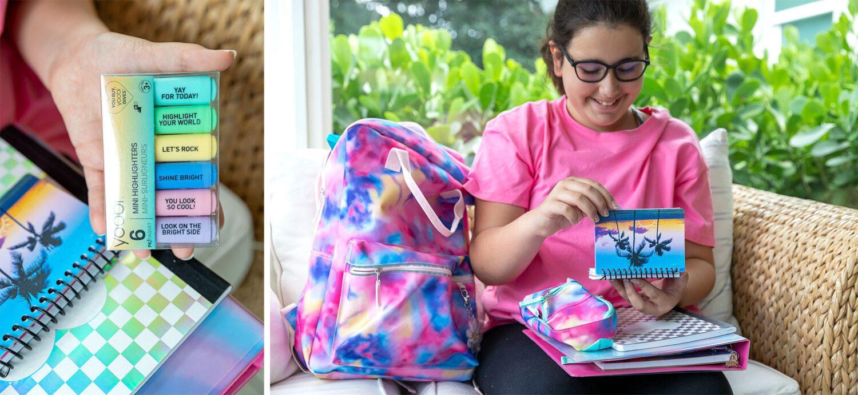 tween showing off her Yoobi tie dye school supplies and highlighters