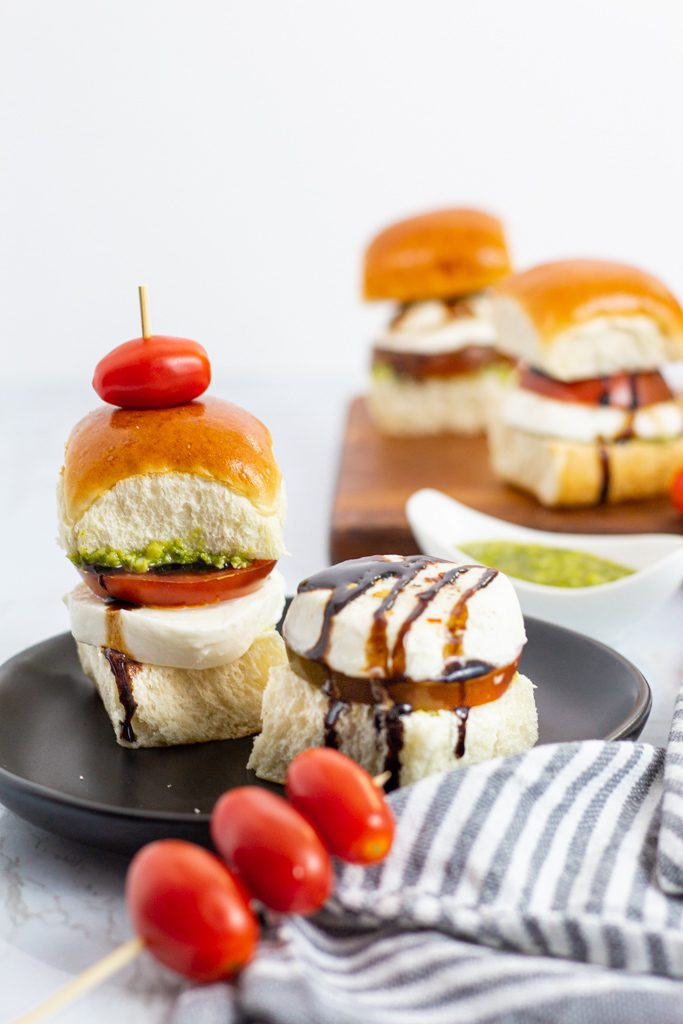 caprese cold sliders with balsamic glaze by my eclectic bites