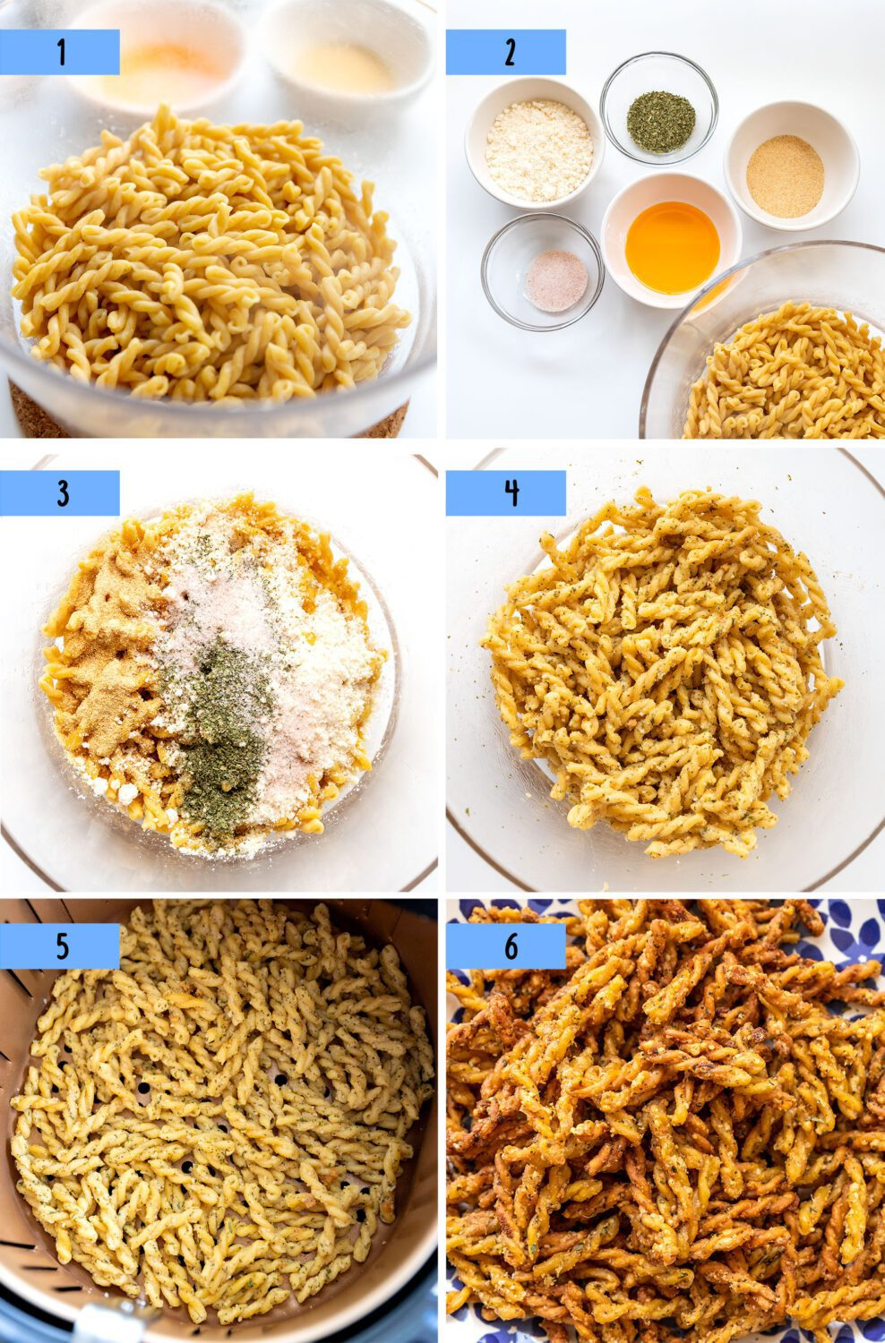 steps to make air fryer pasta chips