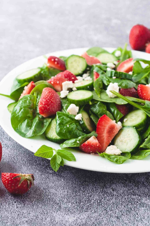cucumber strawberry salad by marathons and motivation