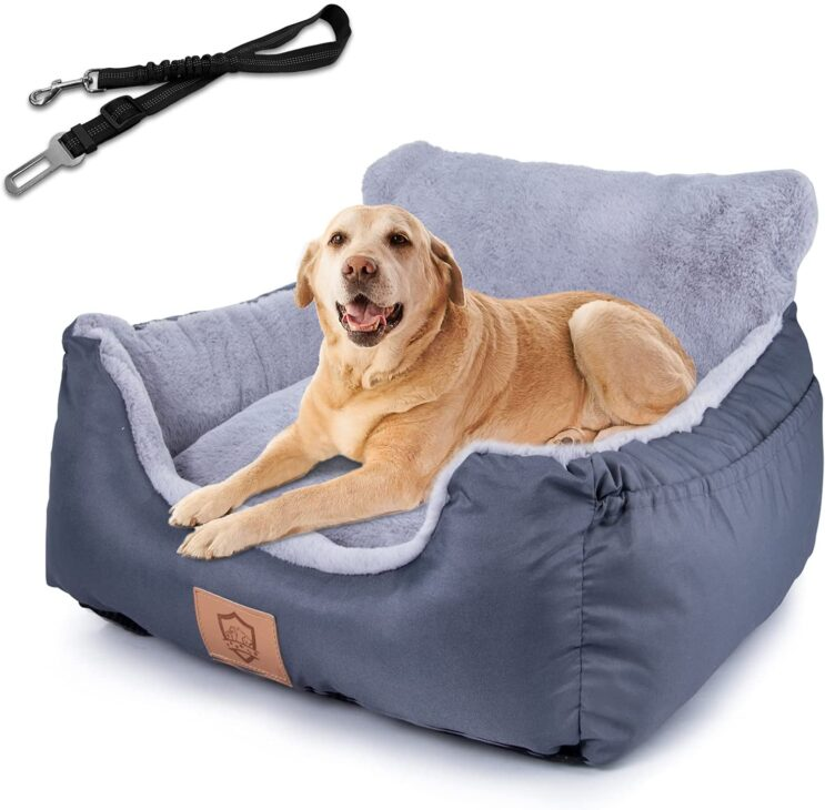 Dog Booster Car Seat, Pet Travel Car Carrier Bed with Clip-On Safety Leash and Storage Pocket