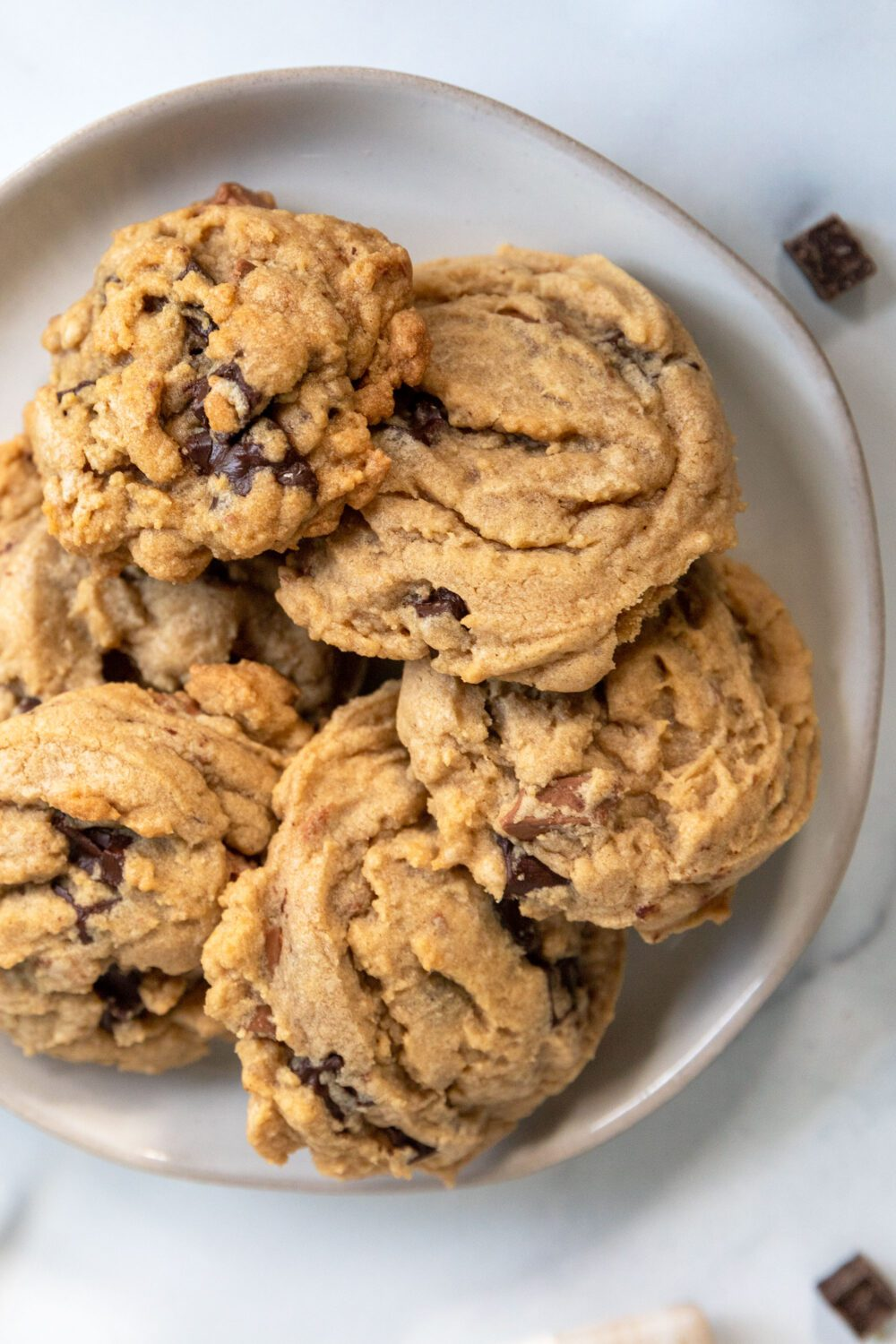 plate of double chocolate chunk cookies