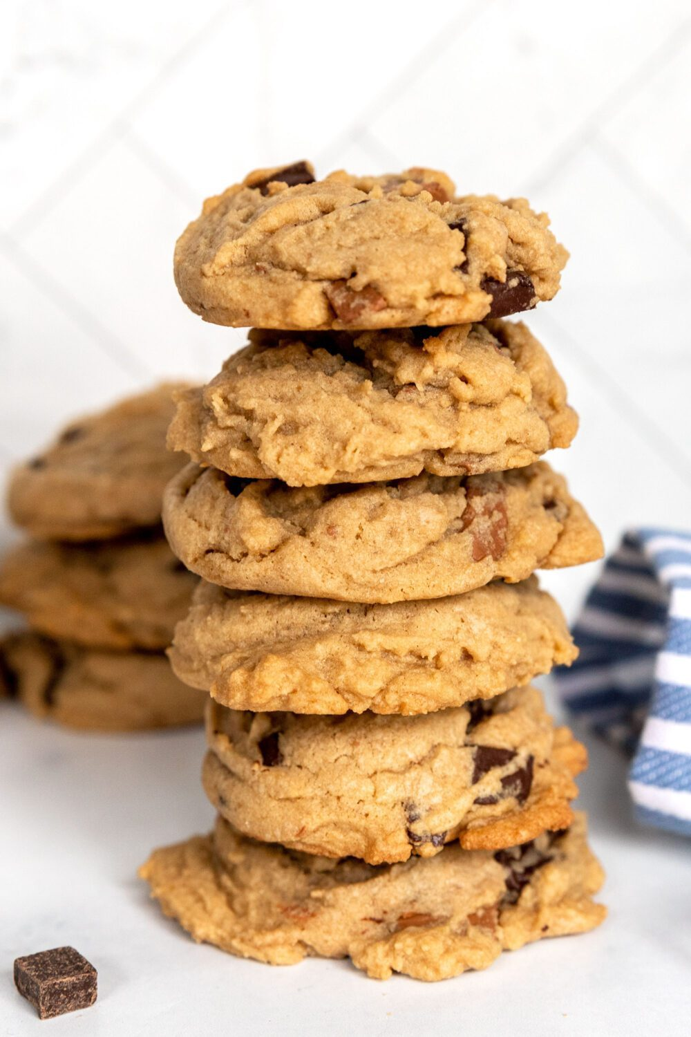 stack of double chocolate chunk cookies