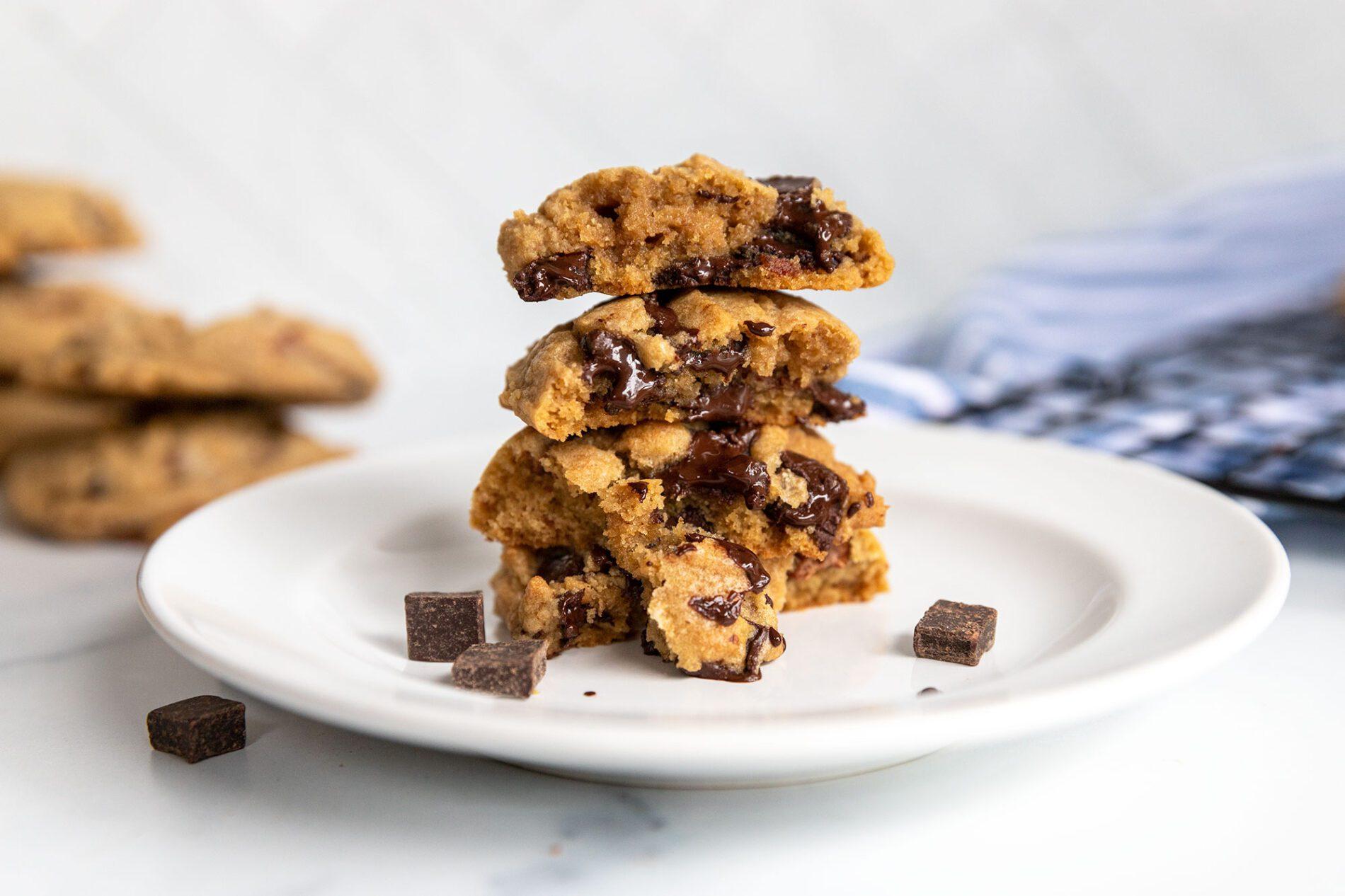 plate of gooey chocolate chunk cookies