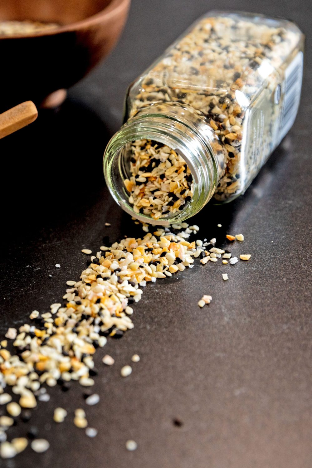 spice jar tipped over with spices coming out