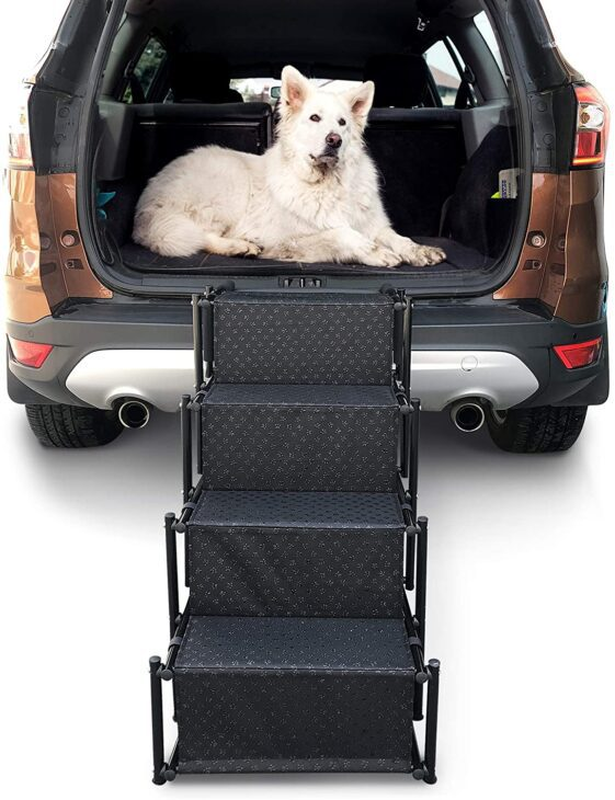 Foldable pet stairs for the car