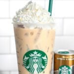 Starbucks iced white chocolate mocha next to a double shot espresso can