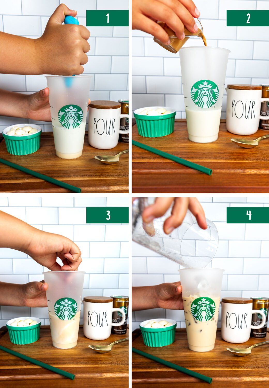 first four steps to make an iced white chocolate mocha