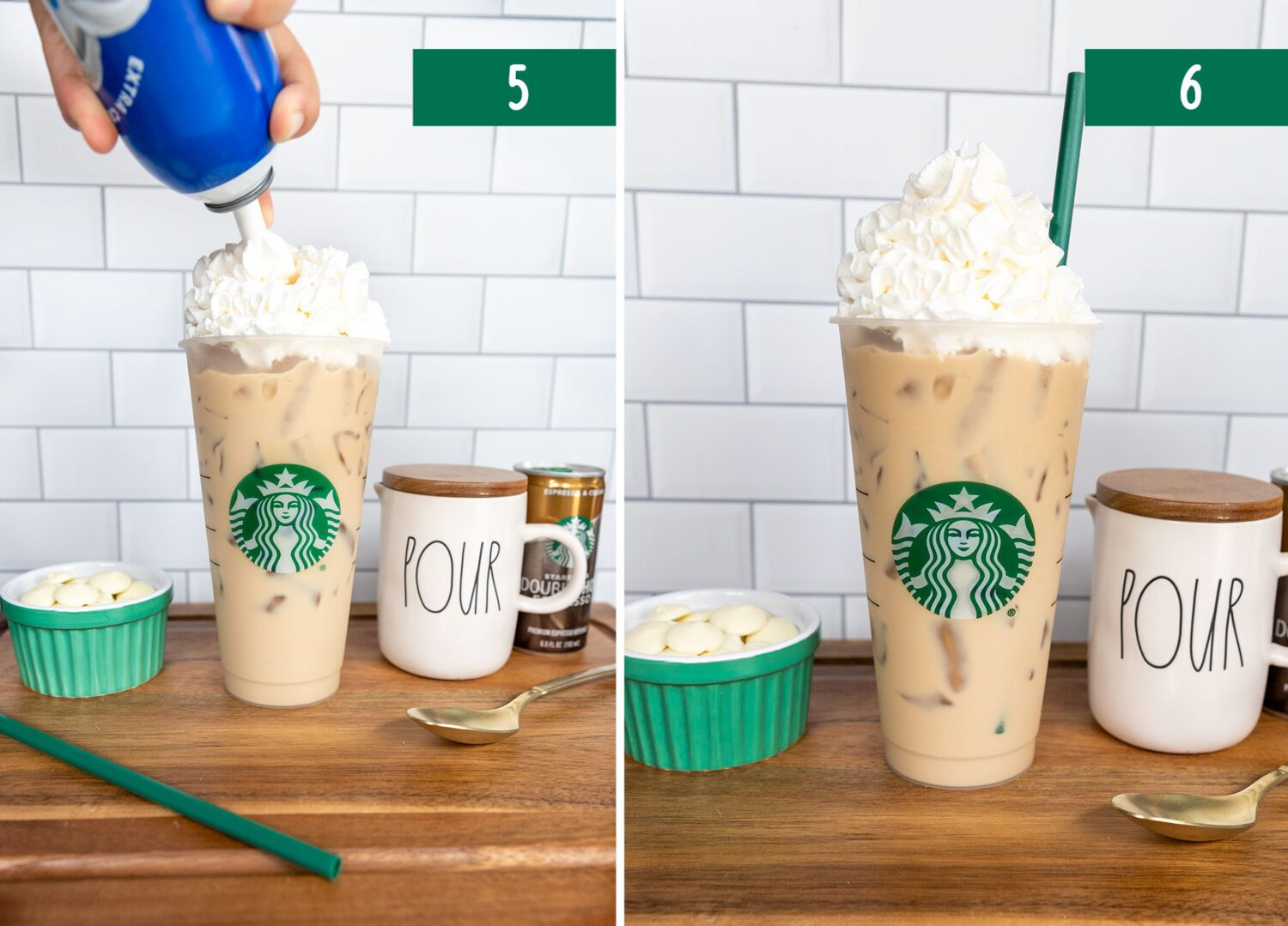 last two steps to make an iced white chocolate mocha