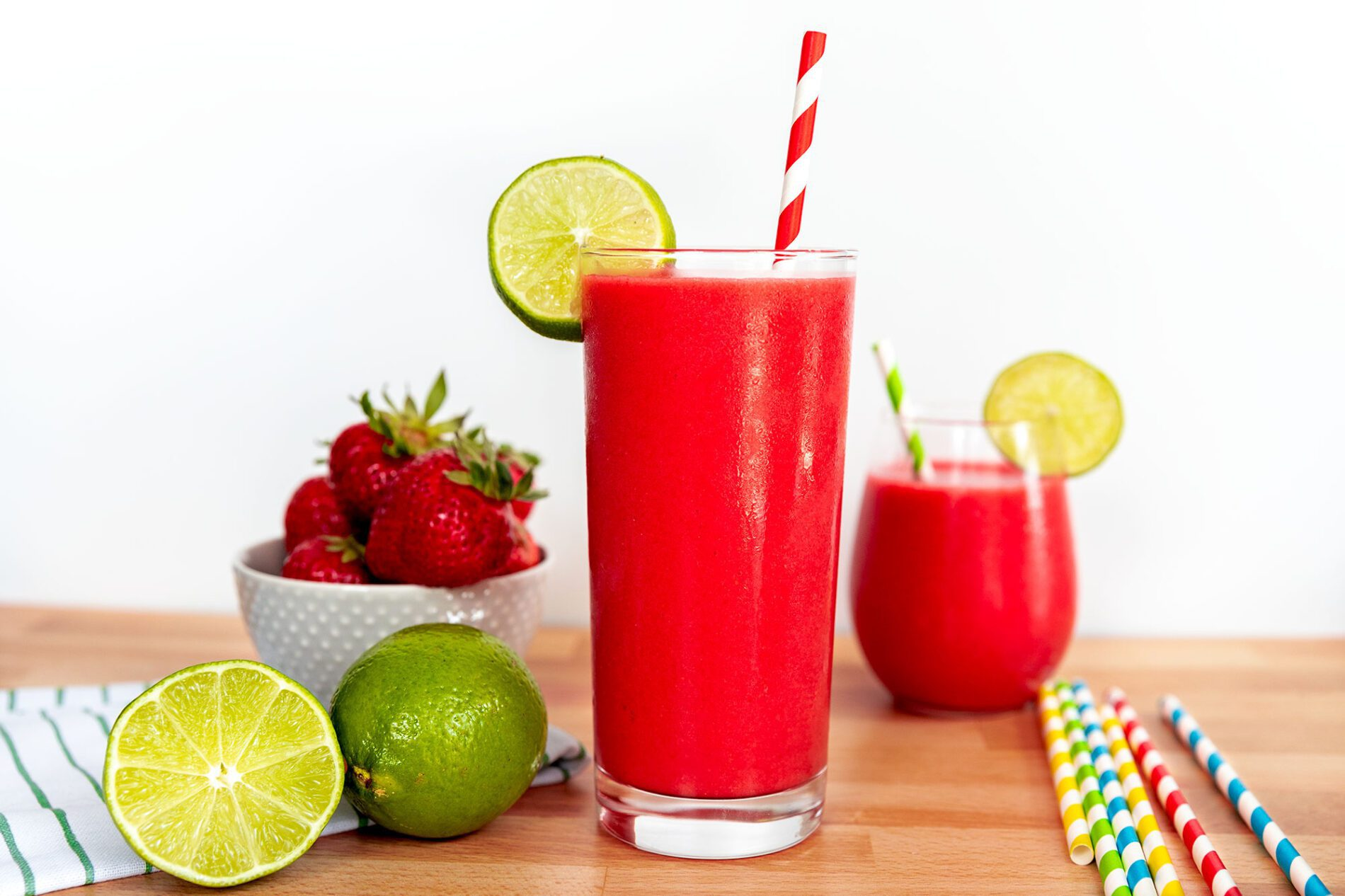 glasses of non-alcoholic strawberry daiquiri mocktail