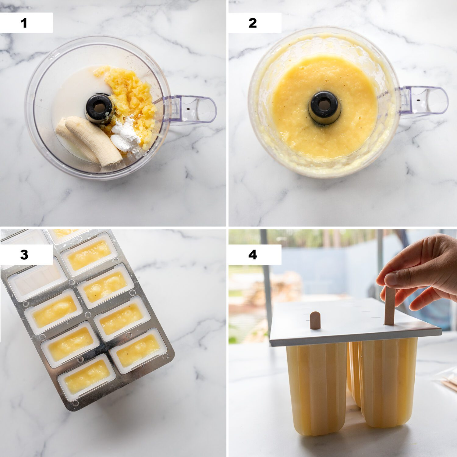 steps to make dole whip popsicles