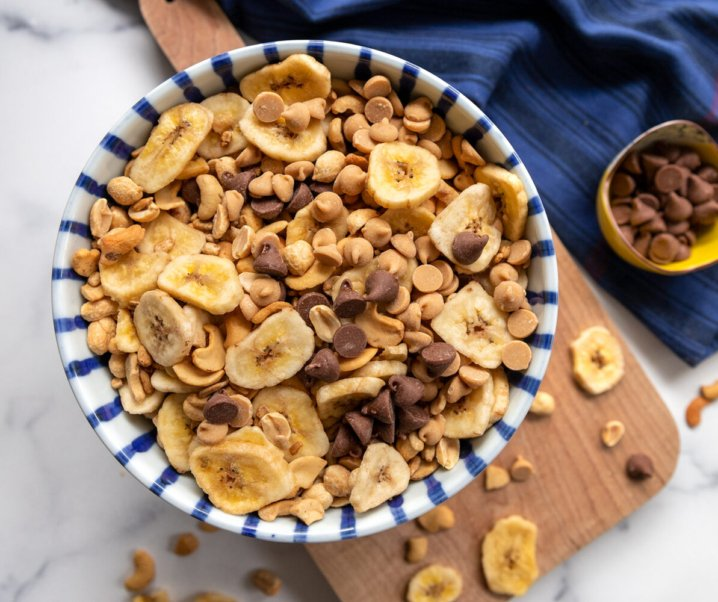 Banana, Peanut Butter and Chocolate Trail Mix