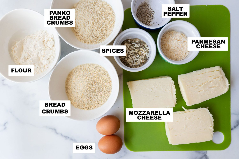 ingredients needed to make air fryer mozzarella sticks