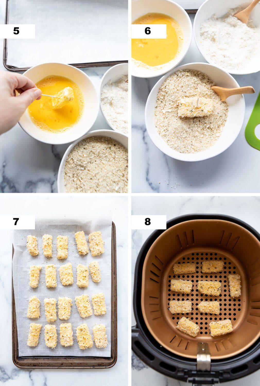 steps to make air fryer mozzarella sticks