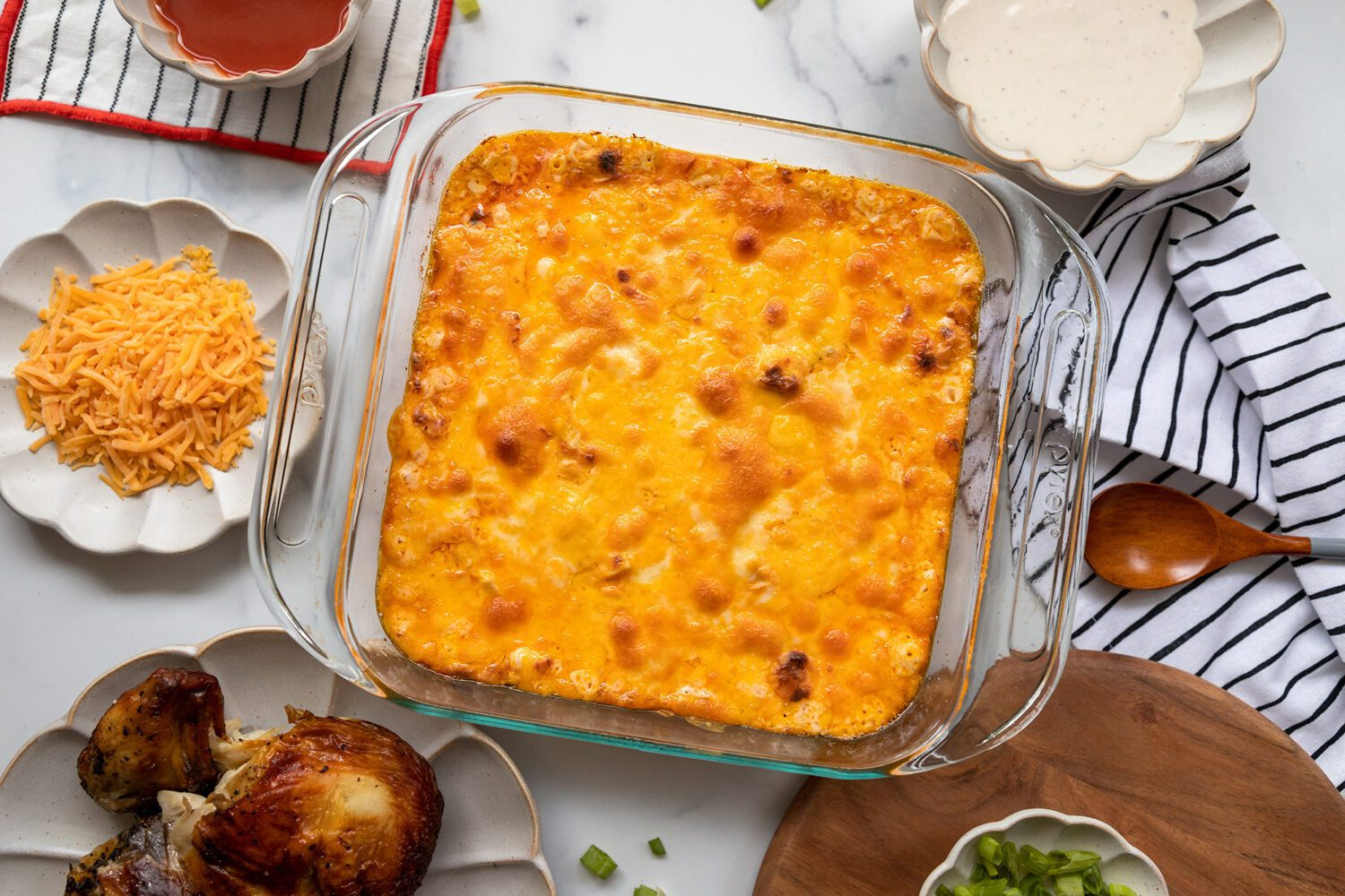 buffalo chicken dip straight out of the oven