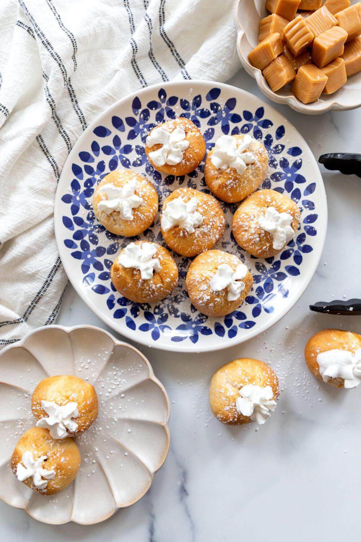 plate of air fryer caramel cream puffs
