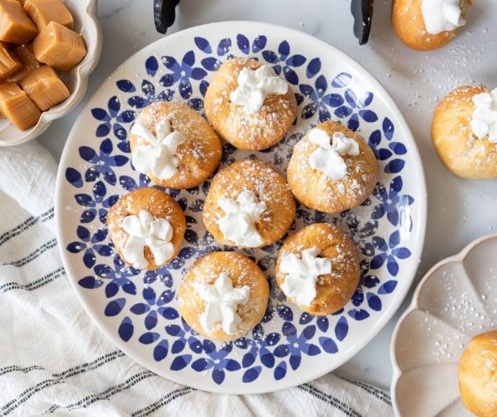 Easy Air Fryer Caramel Cream Puffs