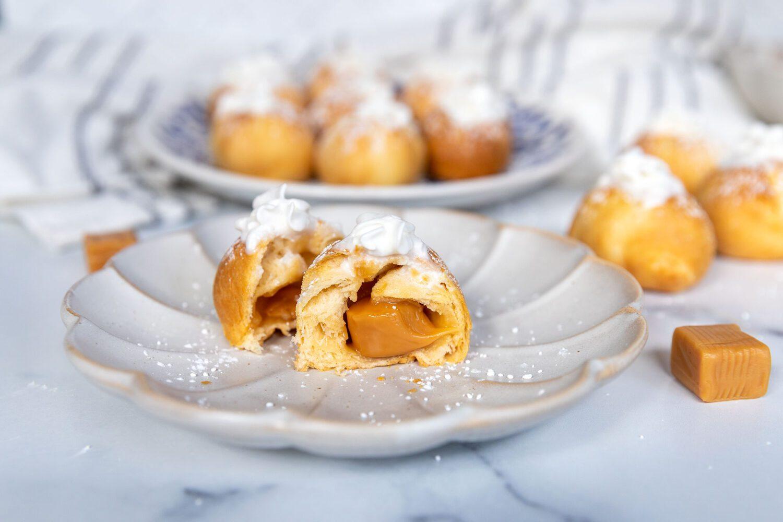 inside of air fryer caramel cream puffs