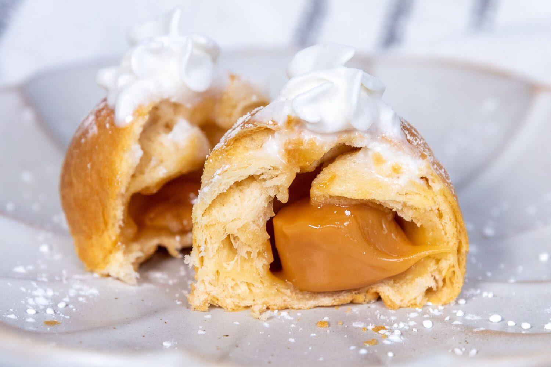 close up of air fryer caramel cream puffs