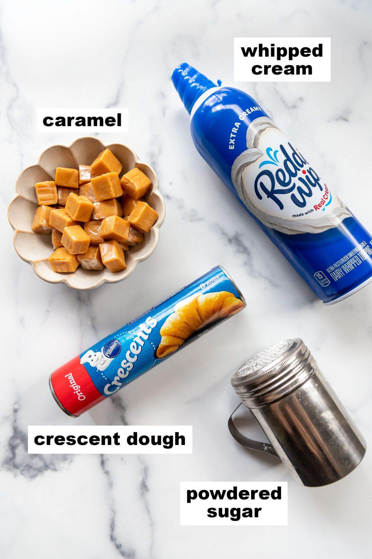ingredients to make air fryer caramel cream puffs